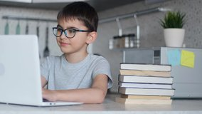 Back to School, Online learning, distance lesson, education at home, technology for schoolboy, business conference. Children doing homework at home