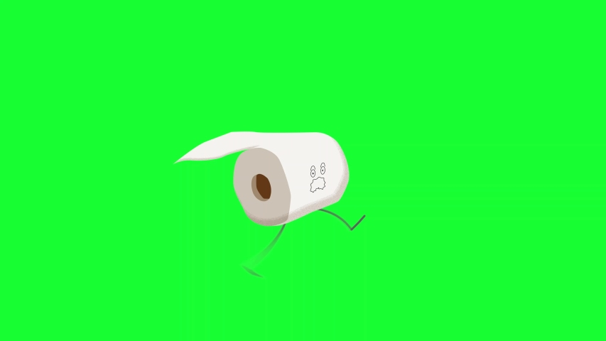 Toilet roll animation. 4K seamless satirical looping animation of a roll of toilet paper running. Toilet paper shortage green screen element / asset. #1050010492