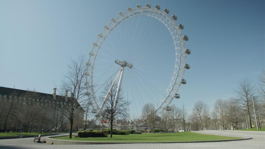 LONDON, ENGLAND, UK –  April 6 2020: Lockdown London, London eye closed and empty street during coronavirus pandemic, no people