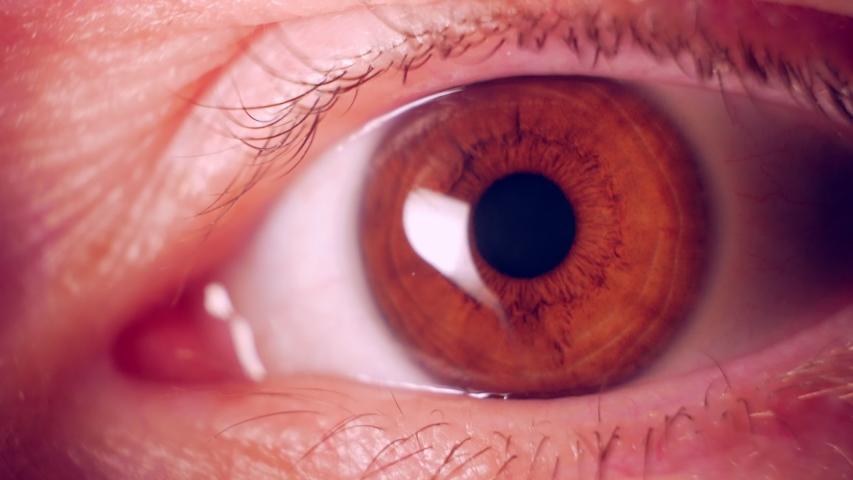 Man peeps. Eyes close up. Tracking, espionage, detective investigation