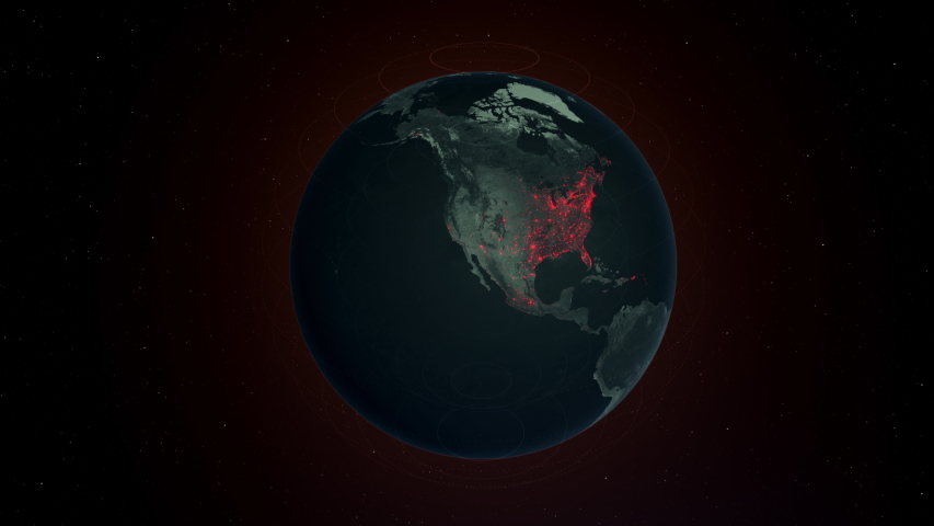 3D animation render of Map of the world showing Coronavirus Covid-19 spread throughout the different continents and countries.  | Shutterstock HD Video #1050033196