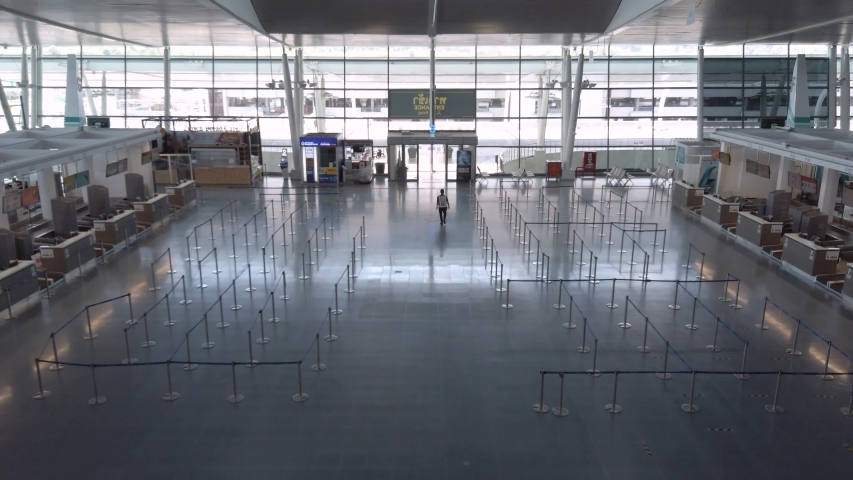 April 3,2020: Phuket International Airport,Phuket,Thailand : Interior view inside international terminal in daytime without people due to coronavirus outbreak covid-19 crisis.Phuket airport closed
