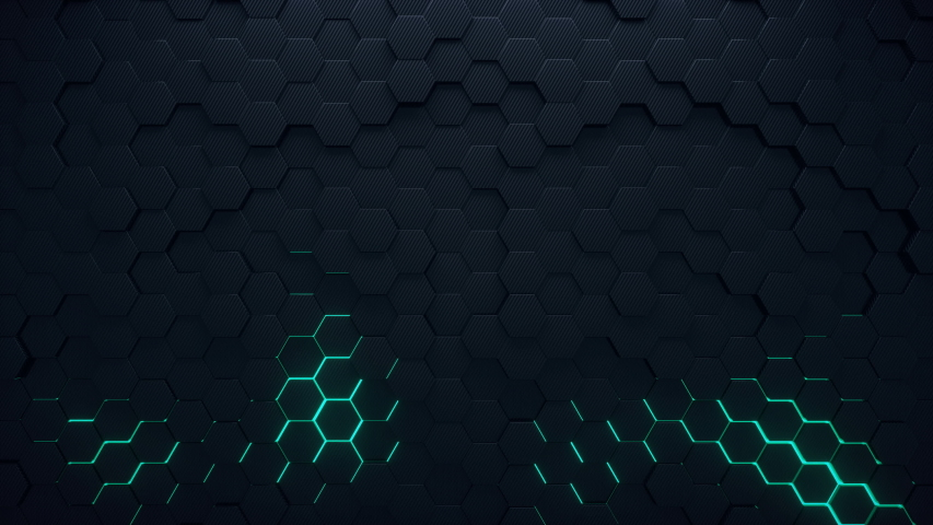 4K seamless loop animation. Abstract 3d rendering honeycomb hexagon pattern background. Dark grey hexagons moving on the surface with green colorful glowing areas. | Shutterstock HD Video #1050060661