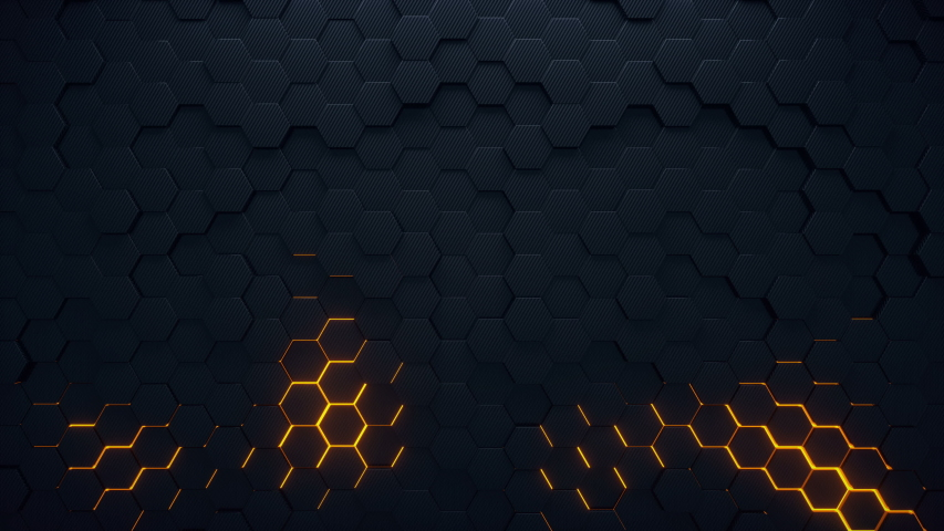 4K seamless loop animation. Abstract 3d rendering honeycomb hexagon pattern background. Dark grey hexagons moving on the surface with yellow colorful glowing areas. | Shutterstock HD Video #1050060664