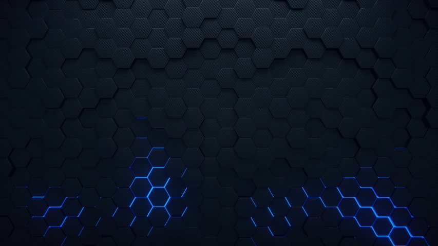 4K seamless loop animation. Abstract 3d rendering honeycomb hexagon pattern background. Dark grey hexagons moving on the surface with blue colorful glowing areas. | Shutterstock HD Video #1050060667