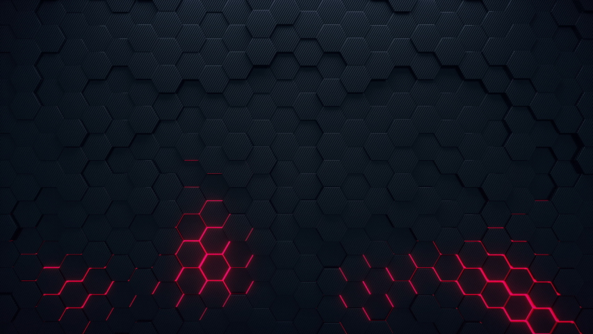4K seamless loop animation. Abstract 3d rendering honeycomb hexagon pattern background. Dark grey hexagons moving on the surface with red colorful glowing areas. | Shutterstock HD Video #1050060670