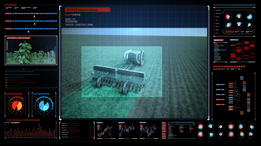 Autonomous tillage harvester tractor in futuristic user interface , 4th industrial revolution for future agriculture. 4k animation. 2. | Shutterstock HD Video #1050106327