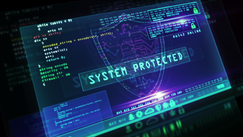 Cyber security message with shield symbol on futuristic computer screen with glitch effect. System safety, privacy protection, digital and identity safe concept 3d animation. Royalty-Free Stock Footage #1050113953