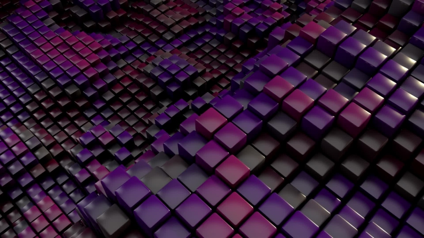 Dark colors quirky 3D cubes wavy animation with motion blur. Perfectly looping. | Shutterstock HD Video #1050118336