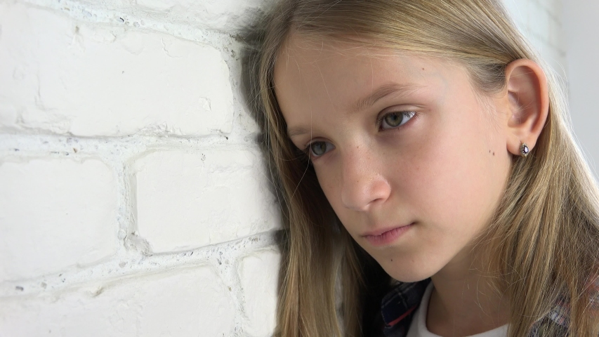Sad Kid, Unhappy Child, Sick Ill Teenager Girl in Depression, Stressed Thoughtful Person | Shutterstock HD Video #1050132721