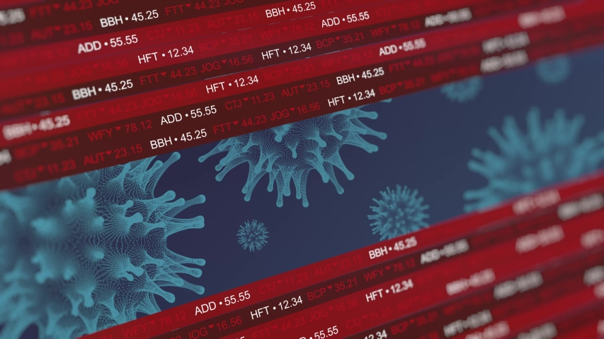 Stock market crashing due to coronovirus covid-19 pandemic outbreak. Concept of financial stagnation, crash, recession, crisis, business crash and economic collapse. Downward trend 3d animation. | Shutterstock HD Video #1050201328