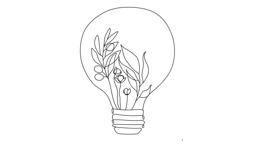 Self drawing simple animation of single continuous one line drawing of plant light bulb. Drawing by hand, black lines on a white background. Ecology bulb light video.  | Shutterstock HD Video #1050214756