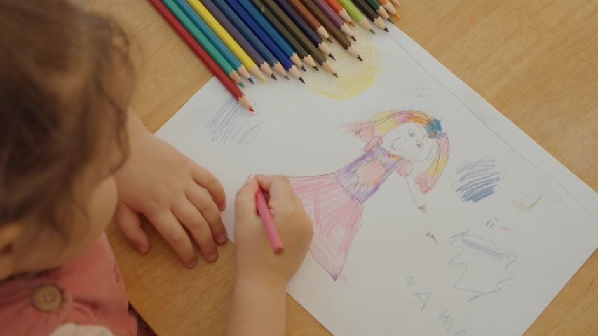 Little Girl Draws Her Mother With Colorful Pencils. Living Picture. Kid's Creativity. Stay At Home | Shutterstock HD Video #1050224329