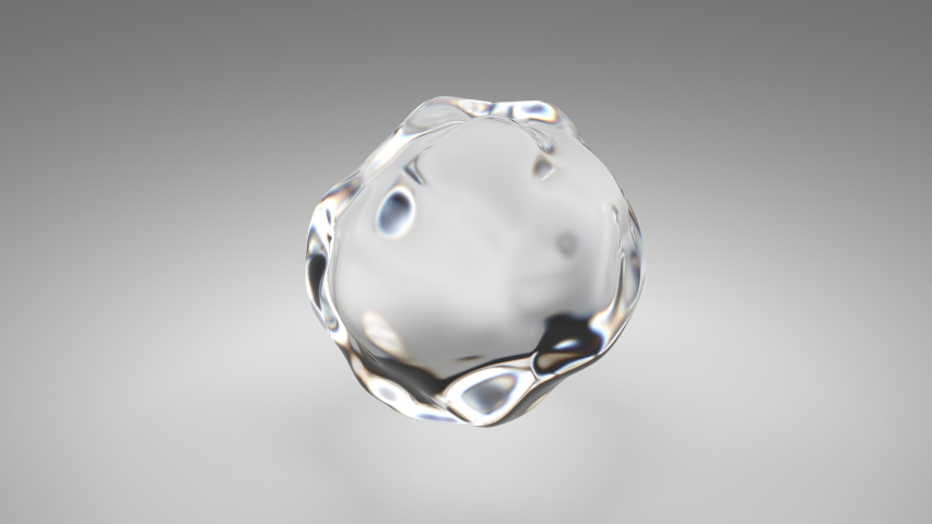 Flying abstract glass or water blob or drop. 3d animation of 4k UHD seamless looped video.