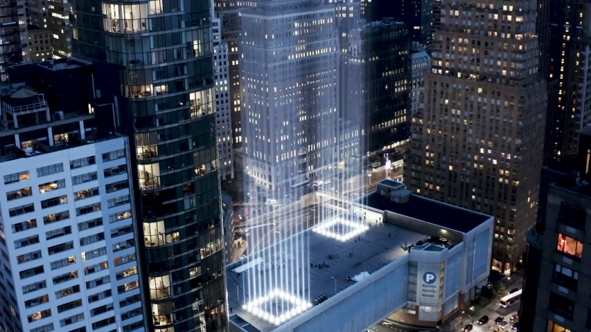 New York City / United States    8.2.2019                                Aerial video of The National September 11 Memorial & Museum   , taken by Drone Camera from above in the night time