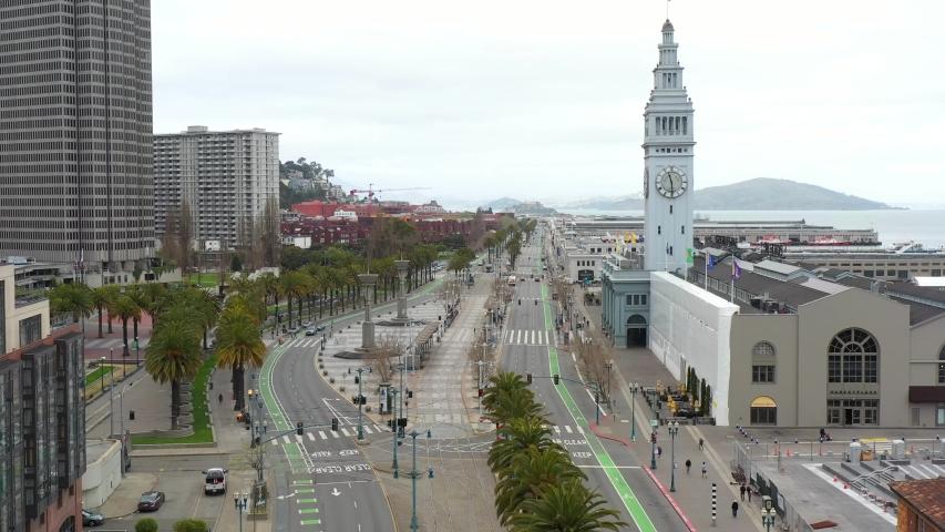 San Francisco Empty Downtown Waterfront during Covid-19 Coronavirus Pandemic Quarantine  | Shutterstock HD Video #1050242452