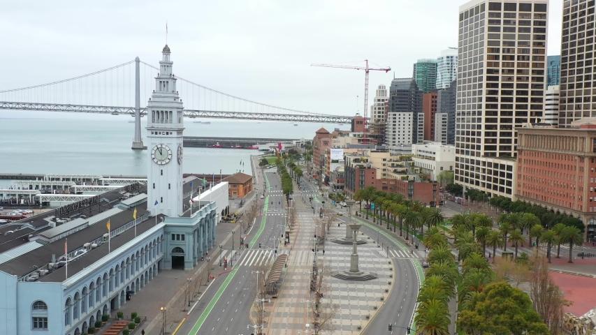 San Francisco Empty Downtown Waterfront during Covid-19 Coronavirus Pandemic Quarantine  | Shutterstock HD Video #1050242479