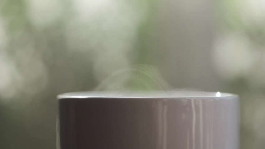 Water Vapour Coming Out of Teacup, Tiny Droplets in the Sun, Cosy Home Environment, Green Background - Macro Slow Motion Full HD | Shutterstock HD Video #1050258544