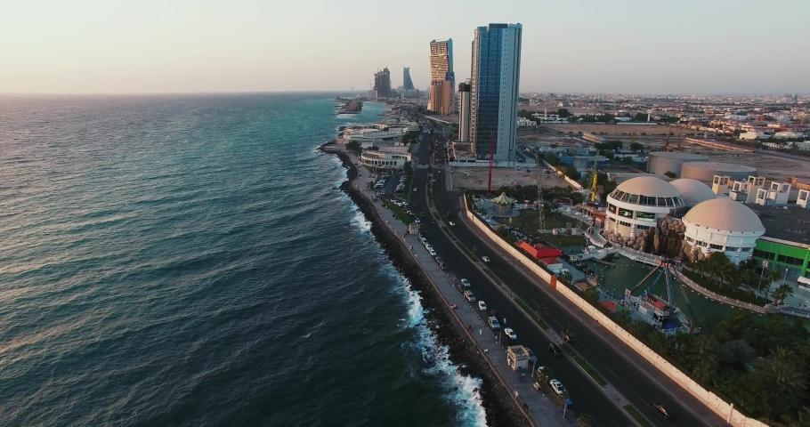 Jeddah ,saudi arabia /12-08-2016 city scape drone beauty shot.