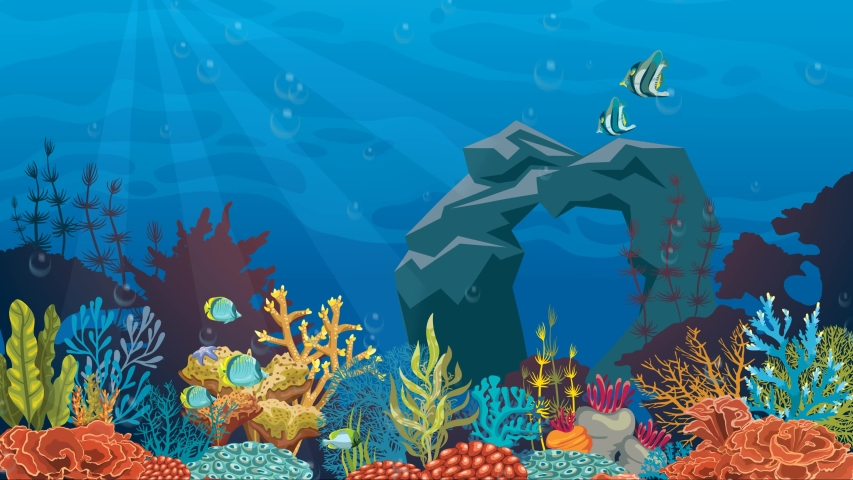 Cartoon underwater water animation with fish. 4k loop animation. | Shutterstock HD Video #1050290587