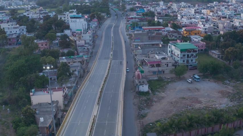 Haridwar ,Uttarakhand/India-April 8 2020:India Lock down-Coronavirus- Aerial view of Dehradun city of India during lockdown because of Coronavirus pandemic. Empty roads, no traffic. 4k