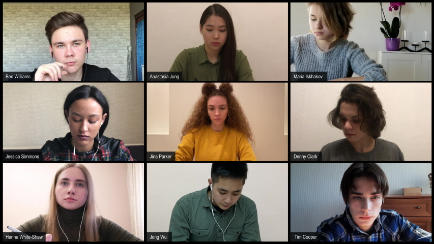 Model released diverse high school students have a distance learning class group call, studying from home. Quarantine remote education. 4k UHD Royalty-Free Stock Footage #1050331663