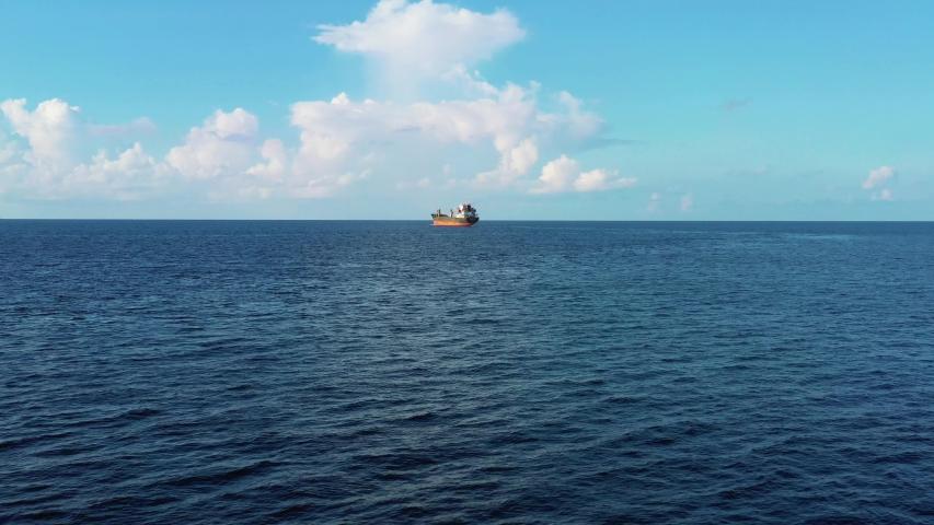 Aerial Shot Big Ship in the Ocean nice sky.
