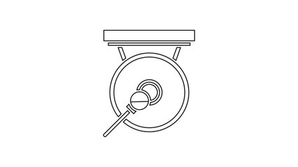 Black line Gong musical percussion instrument circular metal disc and hammer icon isolated on white background. 4K Video motion graphic animation
