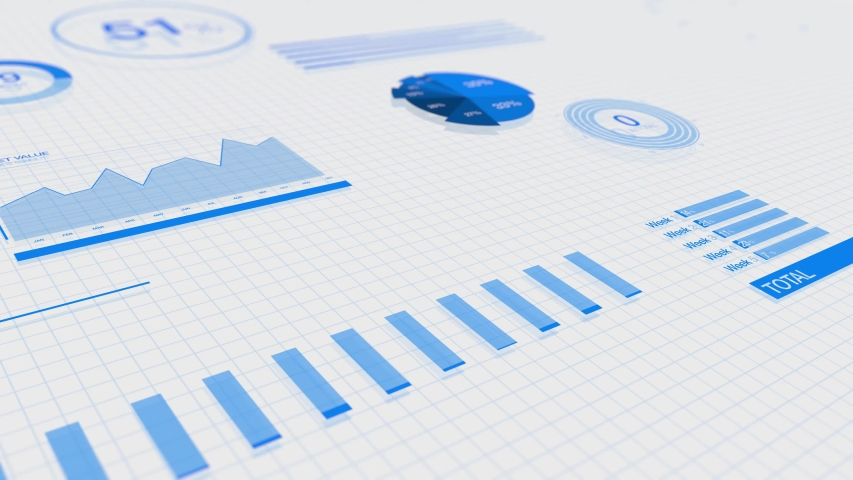3D animation of rising blue bar graph on white background. ultra HD 4K great for presentations  | Shutterstock HD Video #1050343138