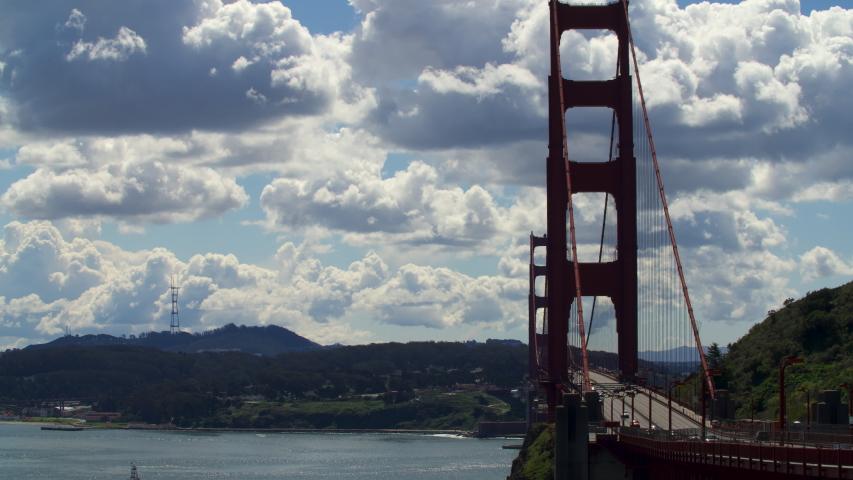 San Francisco, California / U.S.A. - March 26, 2020 Time lapse of the Golden Gate Bridge in San Francisco.