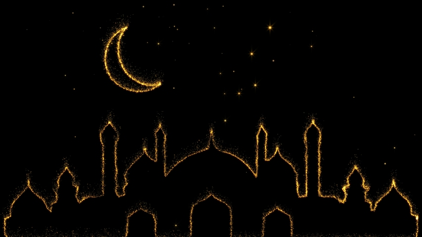 Sparkling golden glitter magically  creating moon and mosque. Royal abstract Ramadan background with falling stars, moon and mosque. | Shutterstock HD Video #1050356086