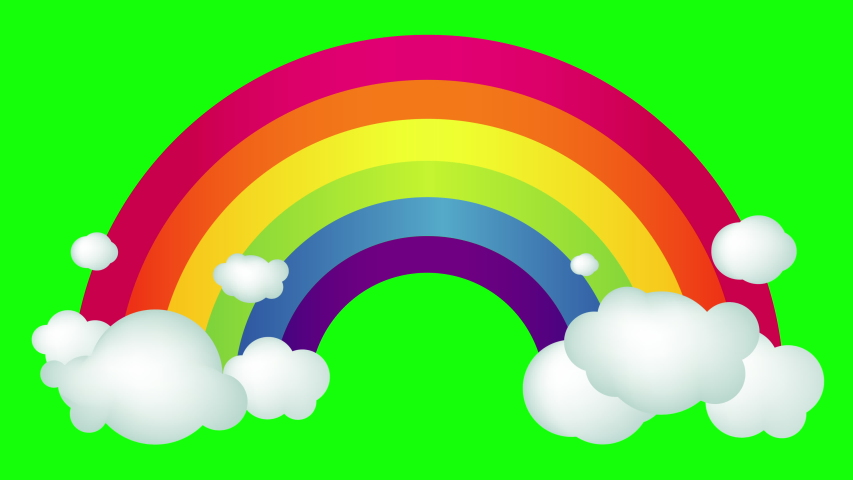 Everything will be fine. Coronavirus Covid-19 claim. Colorful Rainbow with clouds animation. Chroma key, Green Screen
