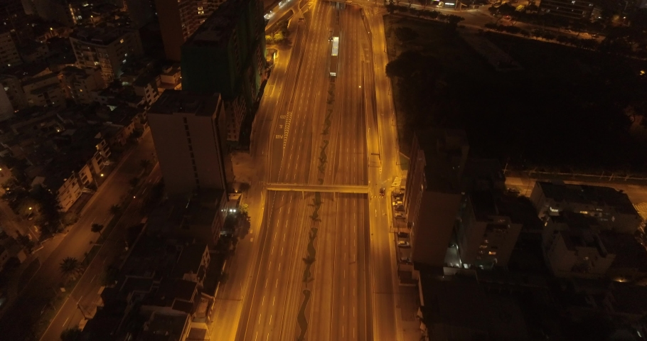 Aerial images in Lima Peru in the afternoon/night during COVID19 quarantine lockdown. Empty streets and avenues, due to pandem.