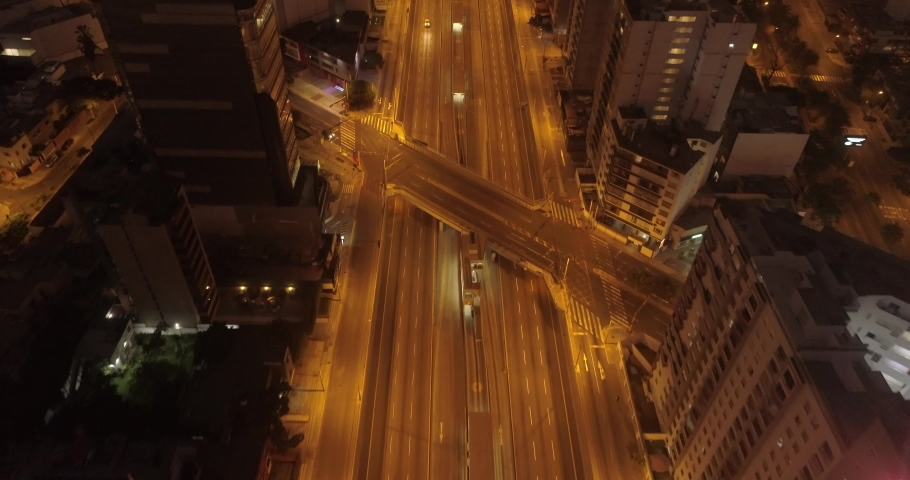 Aerial images in Lima Peru in the afternoon/night during COVID19 quarantine lockdown. Empty streets and avenues, due to pandem. | Shutterstock HD Video #1050399181
