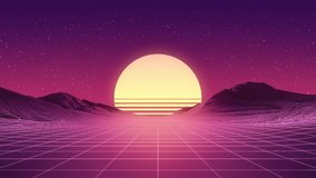 Retro wave 80s, 90s style footage. Camera moving along the valley. Beautiful Sunset over the mountains. Glowing Digital wireframe net. 3D Render. Starry sky. Retro futuristic vintage clip in 4K