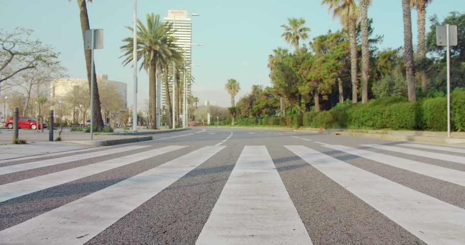 View of empty street crosswalk in city. Coronavirus quarantine | Shutterstock HD Video #1050419812