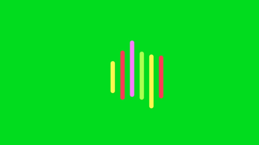 Color music equalizer abstract on green screen