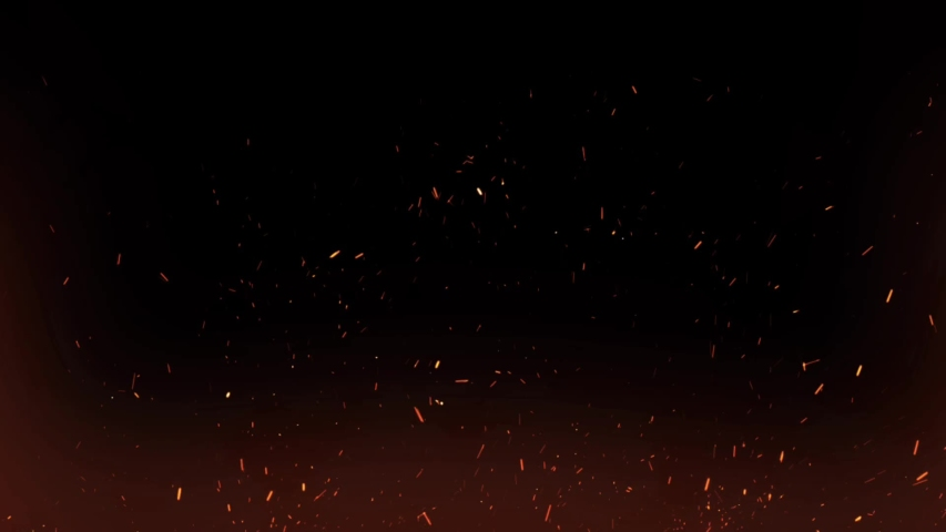 Burning hot bonfire fire sparks on a dark background. Cartoon fire Animation. Raging Cartoon Campfire Flames.Particles over black background.Flying Embers from fire. #1050433213