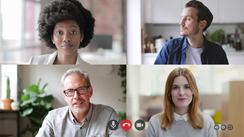 Video call with colleagues working from home, Business people using Video Conferencing technology for virtual meeting | Shutterstock HD Video #1050457264