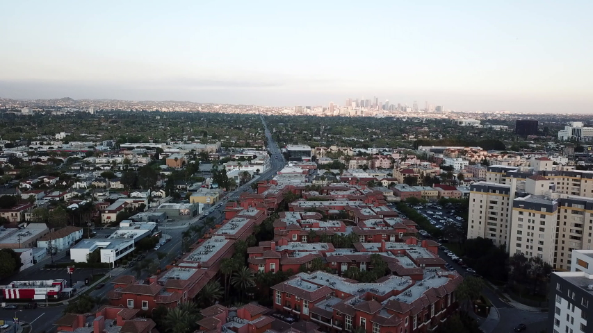Sunset in Los Angeles during the quarantine in April due the Covid-19 in 4k - the city was pollution free. | Shutterstock HD Video #1050469663