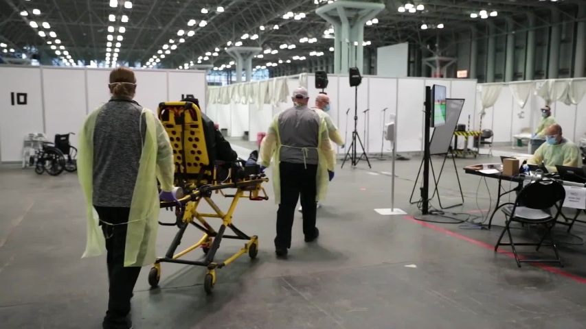CIRCA 2020 - New York coronavirus Covid-19 patients are treated at the Javits Convention Center during the pandemic epidemic outbreak.