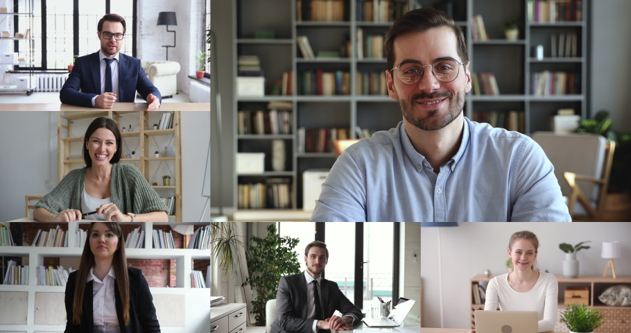 Business people staff team video conferencing in group virtual chat call working from home office. Employees group participating online training, webinar or distance meeting. Collage screen view. | Shutterstock HD Video #1050505951