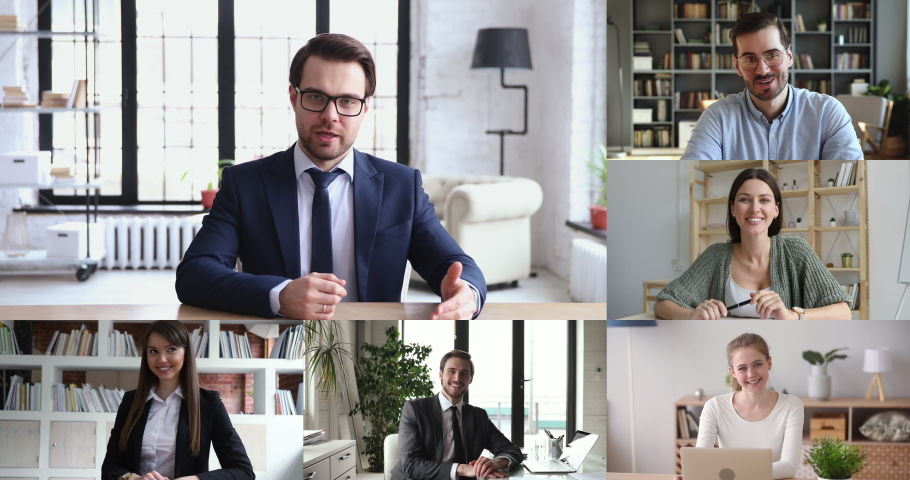 Company boss leading online meeting communicating with business team distance working from home office workers on conference virtual chat, group remote video call. Webcam videoconference screen view. Royalty-Free Stock Footage #1050505954