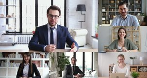 Company boss leading online meeting communicating with business team distance working from home office workers on conference virtual chat, group remote video call. Webcam videoconference screen view.