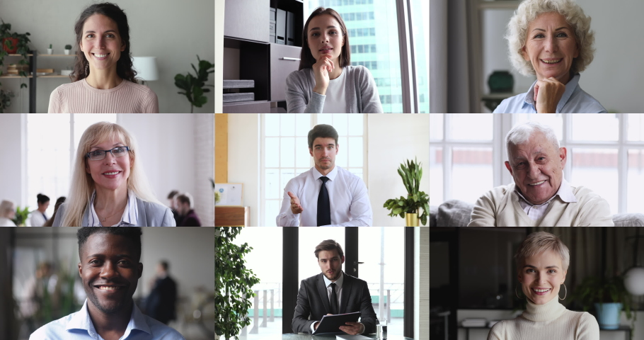 Collage screen view of many diverse people looking talking to webcam making video call. Group distance chat, remote elearning, virtual meeting, work from home office, online videoconferencing concept. Royalty-Free Stock Footage #1050505957