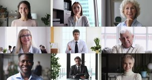 Collage screen view of many diverse people looking talking to webcam making video call. Group distance chat, remote elearning, virtual meeting, work from home office, online videoconferencing concept.