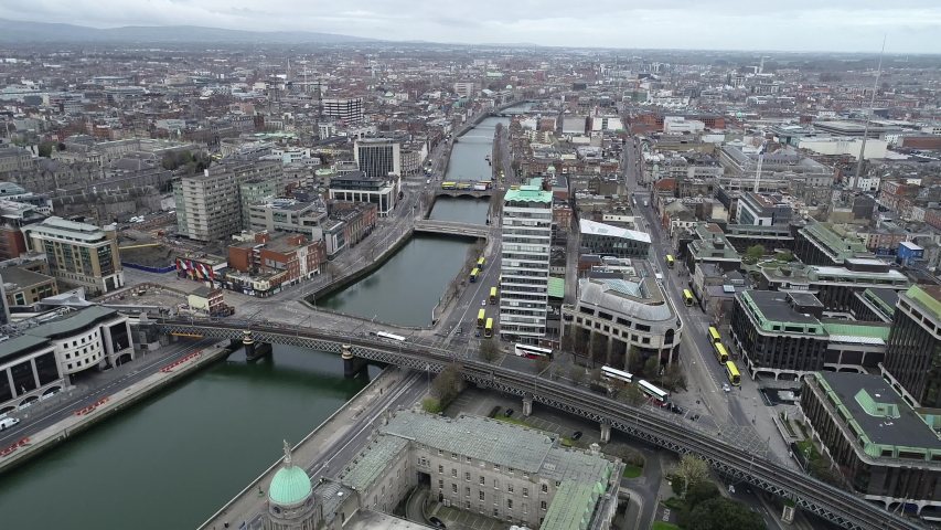 Dublin, Ireland - April 3, 2020: aerial drone view of the north inner city during Covid-19 social distancing restrictions.   Shutterstock HD Video #1050544222