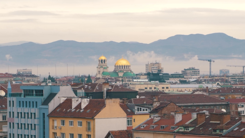 Skyline & churches in Sofia Bulgaria on a misty morning   Shutterstock HD Video #1050549451