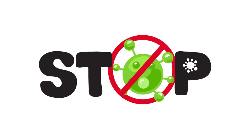 Coronavirus pandemic icon. Stop Covid-19 outbreak animation logo. Global epidemic alert. illustration isolated on white background | Shutterstock HD Video #1050554635