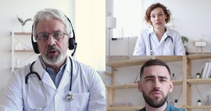 Senior male doctor wearing headset videoconferencing training therapist and surgeon about corona virus pandemic during group conference video call, virtual webcam chat app. Elearning. Screen view.